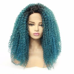 human hair heating Promo Codes - Ombre synthetic deep wave curly hair synthetic lace front wigs 1B light green heat resistance cosplay curly bob wig simulation human hair