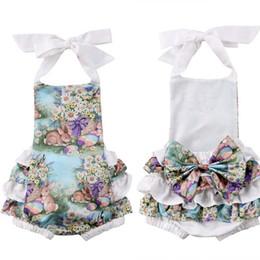 Paskalya 2019 Yenidoğan Bebek Kız ins Giyim Çocuklar Prenses Mor Bunny Dantel Halter Romper Bebek Giyim kız sevimli tavşan Tulum C22 nereden