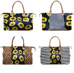 леопард печать холст Скидка 5 Styles Weekend Bags Sunflower Printed Handbags Floral Duffel Bag Leopard Travel Bag Girl Canvas Handbags with sea shipping CCA12137