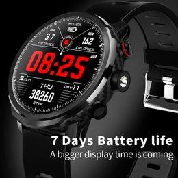 Mejor android smartwatch online-Mejor diseño L5 Relojes inteligentes con IOS y teléfono Android Bluetooth IP68 Smartwatches a prueba de agua GPS Pantalla táctil LED Light Free Ship