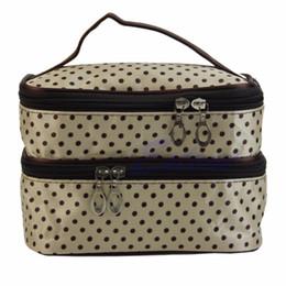 Косметические сумки полька-точка онлайн-1Pc Women Travel Cosmetic Polka Dots Makeup Double Layer Case Pouch Organizer Bag New