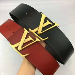 Marca de moda cinturón de diseño de moda hebilla de oro grande cinturón de hebilla lisa cuerpo negro y rojo 7 cm de alta calidad dama clásica accesorios al por mayor desde fabricantes