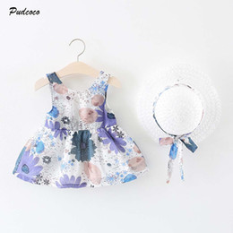 Vestido infantil grande arco on-line-2020 Boho férias 0-2Y Girls Dress + Sun Hat Summer Infant Nova Estilo Baby Kids Sleeveleess Floral Big Bow Vestido Vestido de Verão bonito