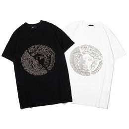 retrato de tee Desconto Camisa dos homens de luxo Tshirt moda nova maré marca Tshirts Medusa quente perfuração retrato T-shirt de algodão de alta qualidade T-shirt casual tee selvagem