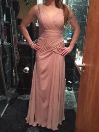 Immagini di nozze rosa online-2019 nuove immagini reali Dusty Pink abiti da damigella d'onore per abiti da ballo formale elegante da donna scollo a V volant