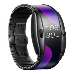 """красный мобильный телефон 4g Скидка Оригинальный Nubia Alpha Smart Mobile Watch 4,01 """"Складной гибкий экран Snapdragon Wear 2100 Quad Core 1 ГБ RAM 8 ГБ ROM 5.0MP наручные часы"""