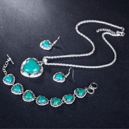 mulheres antigas dos anéis de turquesa Desconto Coração Sintético Turquoise Jóias Conjuntos Colar Pulseira Brincos Anel Para As Mulheres de Prata Antigo Banhado A Jóia