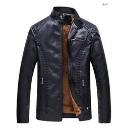 4d55460a40a3b6 Herren Lederbekleidung Motorrad Leder Slim Jacke Herren Designer Jacken  Plus warme Leder PU Lederjacke herren-designer-jacken Outlet