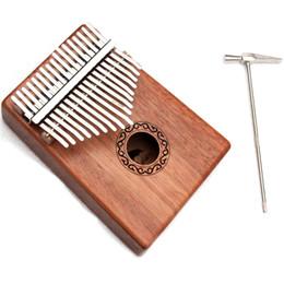 17 Chaves Kalimba Polegar Piano Sólido Corpo De Mogno Com Aprendizagem Livro Tune Hammer de