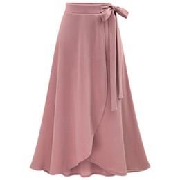 6f94caa61d Falda Mujer 2019 Otoño Nueva Falda Irregular de Cintura Alta Más Tamaño 6XL  Faldas Largas de Gasa Para Mujer Con Cordones Faldas Rosadas