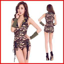 2019 costume uniforme soldato Army donne sexy pilota Volo camuffamento Costume sexy Cosplay Halloween Soldier Dress Camouflage costume uniforme soldato economici