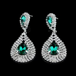 brincos de gota de diamante azul Desconto 2019 Hot Moda brinco Fashion Design Safira azul Gem Água Verde Gota Diamond Drop Earrings