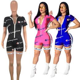 Ceinture de combinaison en Ligne-Lettre Imprimer Femmes Champions Jumpsuit Shorts D'été À Manches Courtes Zipper T-shirt Ceinture Romper Survêtement Skinny Bodycon Club Body A42204