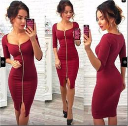 b4286104f82f Tinta unita manica corta vestito passo nero rosso anteriore Zipper Hip Wrap  Dress Designer Midi Party Dress Abbigliamento donna Drop Ship 220100