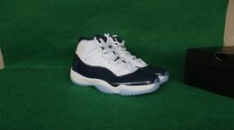 волокнистый углерод темно-синий Скидка Высочайшее качество углеродного волокна Новый 11 XI Полночь темно-синий темно-синий белый Мужчины Баскетбол обувь Спортивные кроссовки Двойная коробка Размер 8-13