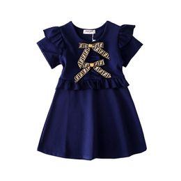 Meninas Vestidos De Grife 2019 Verão Nova Moda Cor Sólida Vestido De Luxo Arco Estilo Britânico Letra FF Princes Vestido 3 Cores Roupa Dos Miúdos de