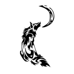 Etiqueta tribal on-line-8,9 * 16,3 CM Fogo Tribal Chama Uivando Lua Lobo Carro Adesivos Preto / Prata CA-630