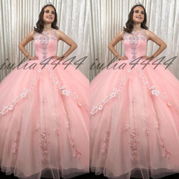 Sleeveless Pink Ball Gown Quinceanera Dresses Jewel Lace Appliques Long Prom Sweet 16 Prom Gowns Vestidos De Quinceanera