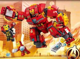 Meninos brinquedos de super-heróis on-line-8pcs / caixa Marvel Os Vingadores 4 Super-herói Homem de Ferro Mech Os Vingadores 4 meninos Montagem Building Blocks Brinquedos