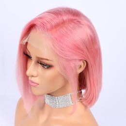 Pelucas de pelo corto rosa online-10 en color rosa Bob corto peluca 13x6 frente del cordón pelucas de cabello humano pelo indio Remy Pre rayado rayita nudos blanqueados