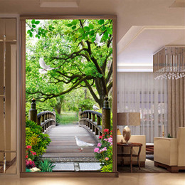 3D Forest Bridge Bird Corridor Entrance Foyer Wall Mural Decals Wallpaper 048