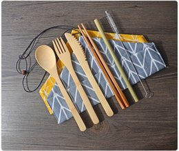 utensils kitchen set Coupons - Portable Natural Bamboo Straw Spoon Fork Knife Chopsticks Cleaning Brush Kitchen Utensil Bamboo Cutlery Set WB305
