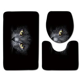 Alfombras de baño negras online-Juego de alfombras de baño negro 3pcs Gato patrón antideslizante Alfombra de baño Alfombra de baño de espuma suave Conjuntos de alfombras de inodoro modernos
