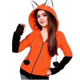 2019 anime zorro de peluche Las orejas calientes animado Fox Orelhas decoración de bolas con capucha naranja con capucha de la chaqueta de felpa de Halloween cosplay Mujeres New Kawaii Outwear Y190916 anime zorro de peluche baratos