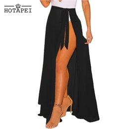 Чёрный купальный костюм покрытие выше юбка онлайн-HOTAPEI сексуальное бикини пляжная одежда прикрыть купальник черный Sheer Wrap Макси пляж юбка LC42275 женщины твердые галстук прикрытие купальники