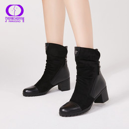 7fc3706f422 AIMEIGAO New Arrival High Heels boots Women Suede Leather Black Boots  Double Zip Short Plush High Quality Women Shoes Y18110301 inexpensive women  black ...