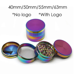 grinder scraper Promo Codes - 40mm 50mm 55mm 63mm Rainbow Grinders Herb Grinder 4 Parts Metal Crusher With Scraper Individual Box Beautiful Grinder With out Sharpstone