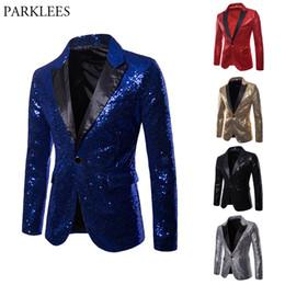 Costumi scenografi cantanti online-Royal Blue Sequin Glitter Blazer Uomo Suit Nightclub Prom Suit Giacca Blazer Mens DJ Stage Clothers per Cantanti Costume Homme