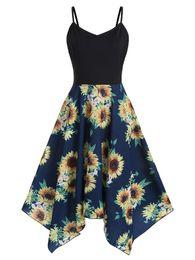 Kenancy Plus Size Sunflower Print Handkerchief Dress Asymmetrical Spaghetti Strap Summer Dress Women High Waist Bodycon Vestidos