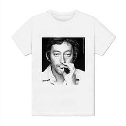 2019 cigarros franceses T-shirt dos homens-Serge Gainsbourg Retrato-Cantor Francês Desconto Por Atacado de Impressão de Cigarro T Shirt Homem Curto cigarros franceses barato