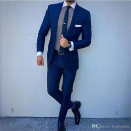 Bleu marine / Noir Hommes d'affaires Costume marié Mariage Tuxedo Top Revers Décoration Fit Blazer Hommes Pantalon Veste Deux-pièces ? partir de fabricateur