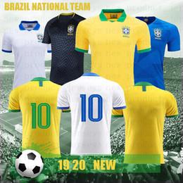 Бразильский футбол онлайн-Версия игрока Бразилия футбол Майки 10 JRNEYMA Пеле Рональдиньо COUTONHO G. Иисус пользовательские бразильский дом желтый белый футбол рубашка 2019 2020