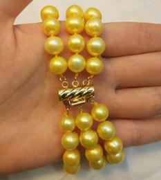 Triple rangée de perles des mers du sud en Ligne-Bracelet triple brins 9-10MM SOUTH SEA GOLD PEARL Gold