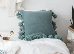 Sofás de casamento on-line-Borla De Malha Capa de Almofada de Luxo Decorativo Fronhas para Decoração de Casamento Sofá Fronha Cadeira de Travesseiro Capa