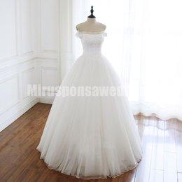 2019 red de vestidos Vestidos de boda del hombro vestidos de noche apagado con mangas una línea de la red del punto de destino de longitud de vestidos de novia de encaje hasta vestidos de boda rebajas red de vestidos