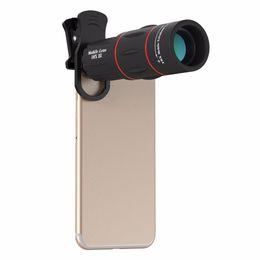 Линза объектива 18x zoom онлайн-18X телескоп масштабирование мобильного телефона объектив для iPhone Samsung смартфоны универсальный клип объектив камеры Telefon с штативом 18XTZJ