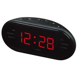 Deutschland Radio Digital LED Wecker AM / FM Radio Rot Mit EU Stecker Digital LED Leuchtschirm Snooze Elektronische Uhren Hohe Qualität Versorgung