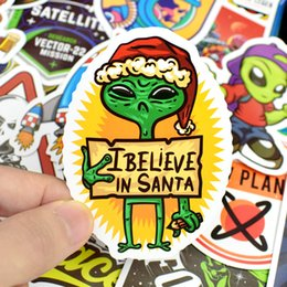 juguetes de cohetes Rebajas 50 Unids / lote Espacio Exterior Pegatinas Juguetes para Niños Alien OVNI Astronauta Cohete Planet Planet Sticker to Scrapbooking Skateboard Laptop C3