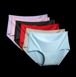 075c01e020 Women Seamless Panties Solid Underwear Women lingerie Ice Silk Soft Cozy Briefs  underwear triangle shorts KKA6512
