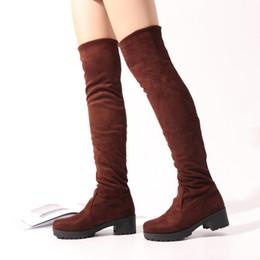 Bottes de chaussures de genou en Ligne-Bottes au-dessus du genou en daim stretch pour femmes, 3 couleurs, bottes hautes, cuisse, bottes hautes, cuisse