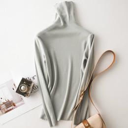 koreanische frauen pullover langarm design Rabatt Heißer verkauf herbst und winter damen einfarbig stricken bodenbildung hemd hohen kragen pullover hemd langarm schlank grau pullover