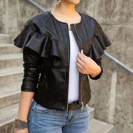 женская кожаная жакет ruffle Скидка 2019 Spring Ladies Black Leather Jacket Women Long Sleeve Zipper Ruffles O-Neck PU Coat Slim Motorcycle Jackets