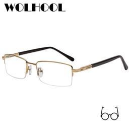 2019 lunettes de prescription pour hommes Mens Vintage Alliage Rectangle  Semi-sans monture Lunettes De dcdd814723de