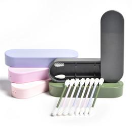 Bastoni di cotone online-2pcs Lastswab riutilizzabile tampone di cotone orecchio tampone cosmetici in silicone germogli bastoncini bastoncini con scatola per la pulizia di trucco e touch-up