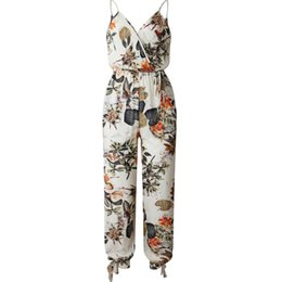 2aa38e5fa97cd Spaghetti Strap Jumpsuit Women 2019 Summer Long Pants Floral Jumpsuits  Rompers Casual Beach Overalls Female Side Split Playsuit