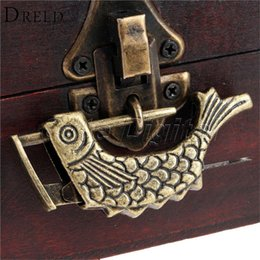 old jewelry boxes Promo Codes - Antique Bronze Alloy Antique Chinese Old Wooden Jewelry Chest Box Lock Padlock for Suitcase Drawer Cabinet 60x9x31mm